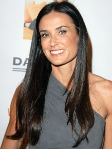 Demi moore with long hair in her 50's